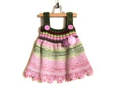 Knitted Baby Girl Dress Knit Pinafore Hand Knitted Jumper Dress Winter Baby Girl Fashion - Pink and Green, 1 - 2 years