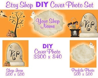 Etsy Shop Banner New Size Cover Photo Set DIY Add Your Shop Name Adorable Halloween Banner Instant Download