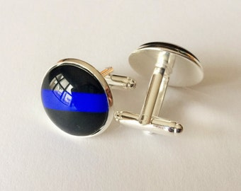 Thin Blue Line  CUFFLINKS / Police Cuff Links / Blue Lives Matter / Law Enforcement / Cuff Links / Police Officer gift / Gift boxed
