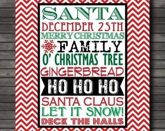 Christmas Subway Printable, Chevron Art Print, Christmas Art