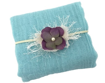 Pale Turquoise Cheesecloth Wrap with Purple and bit of Green Flower Headband, Newborn Photo Prop, Baby Shower Gift Baby Posing Photo Set