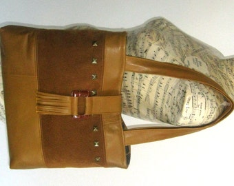 Recycled Leather and Suede Tote Handbag - Golden Brown Upcycled Leather