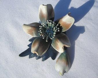 Blue Leather Flower Brooch