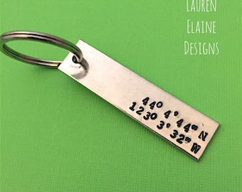 Custom Hand Stamped Coordinate Latitude, Longitude Keychain- Personalize with Your Own GPS Coordinates, and Font Choice