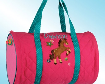 Quilted Duffle Bag - Personalized and Embroidered - GIRL HORSE