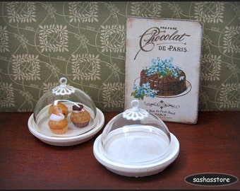 Miniature pastry display with glass dome, shabby chic miniature, cake stand, dollhouse miniature, cupcake holder, miniature serveware