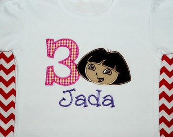 Dora inspired applique on a shirt or onesie