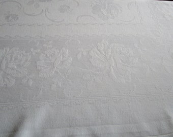 Vintage French White Damask Tablecloth Roses and Rosebuds  Leaves Fine Dining Christening Wedding 48 x 56 Inches