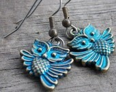 Surgical Stainless Steel Owl Earrings, Antiqued Bronze Owls With Blue Patina on Hypoallergenic Steel, 1pair