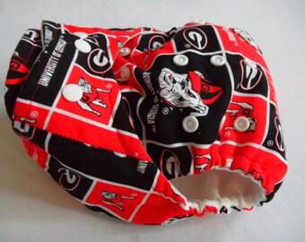 SassyCloth one size pocket diaper with Georgia Bulldogs cotton print. Made to order.