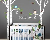 Birch Trees with Owls Wall Decal -  Kids Baby Nursery Wall Decals