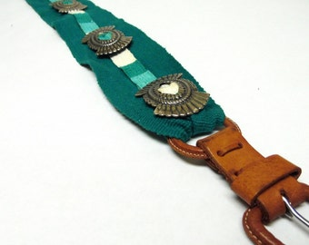 Western Concho Belt In Green with Leather