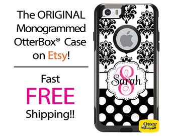 iPhone OtterBox Commuter Case for iPhone 7, 7 Plus, 6/6s, 6 Plus/6s Plus, 5/5s/SE, 5c Galaxy S7 S6 S5 Note 5 Monogrammed Damask Polka Dots