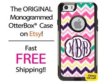 iPhone OtterBox Commuter Case for iPhone 7, 7 Plus, 6/6s, 6 Plus/6s Plus, 5/5s/SE, 5c Galaxy S7 S6 S5 Note 5 Monogrammed iKat Chevron Case