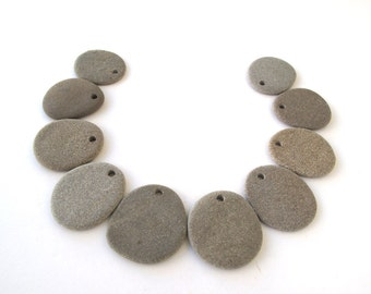 Flat Stone Beads Drilled Beach Stones Mediterranean Pebbles Natural Stone Beads River Rock Diy Jewelry Making MATTE FLAT LOT 30-34 mm