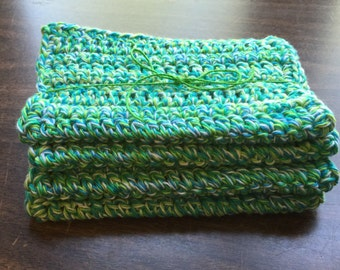4 large dish cloths/ dish rags/ wash cloths made of 100% cotton yarn in Emerald Energy Color