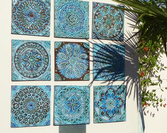 Outdoor Wall Art, Garden Decor, Abstract Art For Garden, Decorative Tiles, 9