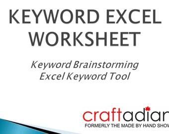 SEO Keyword Tool - SEO Keyword Brainstorming - SEO Keywords Worksheet, Etsy Shop Help