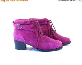 Half Off vtg 80s FUSHIA Suede Leather ANKLE BOOTS 11 lace up buckle knit trim grunge revival indie retro pink chunky heel