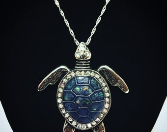Blue sea turtle necklace with crystals