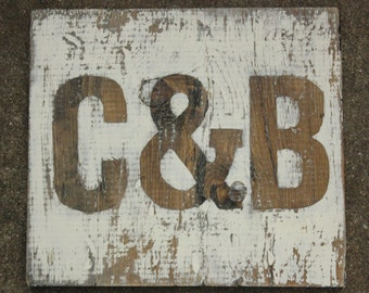 Wedding Initials Ampersand Set Distressed White and Natural Wood