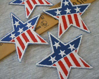"""Star Applique Patches American Flag Embroidered Stars 3.25"""" Iron-on Patriotic Uniform Stars & Stripes patches scrapbooking bulk Royal Blue"""