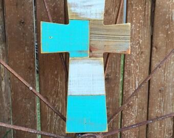 Turquoise Wood Cross - Reclaimed Wood Cross