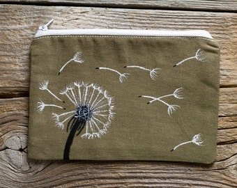 Hand Painted Dandelion Zipper Pouch in Khaki, Nature Inspired Cosmetic Bag