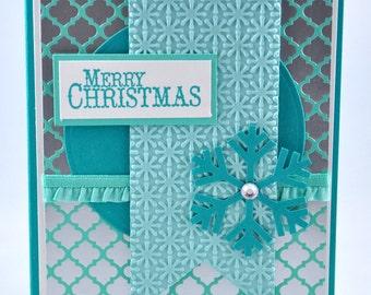 Christmas Greeting Card, Aqua, Blue, White, Silver, Snowflake, Seasons Greetings, Merry Christmas, Winter, Stamped, Blank Inside