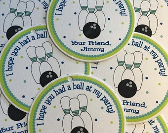 Boys Bowling Favor Tags or Stickers