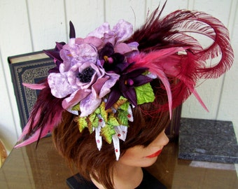 Fascinator (F609) Ascot Derby, Derby Races Hat, Brocade Applique, Feathers, Silk Flowers, Sequins and Swarovski Crystals