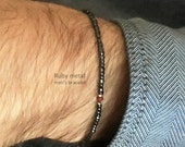 Ruby metal mens small bead bracelet - gentlemens glam mens bracelet dark metallic gray with ruby gem center - MariaHelenaDesign