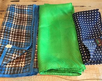 Vintage scarfs and pocket square. Hankercheif