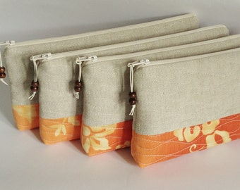 Farmhouse Wedding Orange Clutches, Garden Wedding Bags, Bridesmaids Gifts, Set of 4 Purses, Rustic Bachelorette Bags