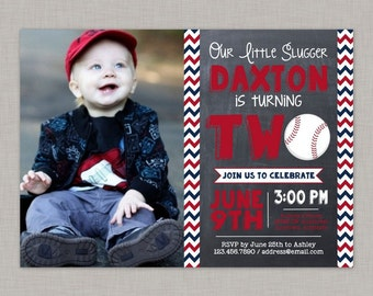 Baseball Invitation, Baseball Second Birthday Invitation, Second Birthday Invitation
