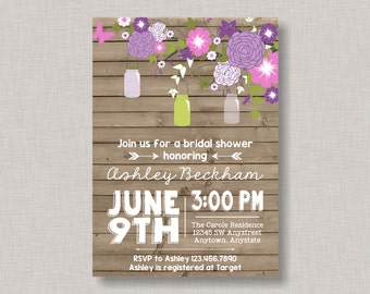 Mason Jar Invitation, Mason Jar Bridal Shower Invitation, Mason Jar Baby Shower Invitation, Mason Jar Birthday Invitation, Wood Grain