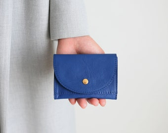 Small Wallet Cobalt Blue,  flat womens wallet, small leather purse, mens wallet