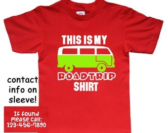 Road Trip Vacation Safety Shirt for Kids - Pick Your Colors - Add Your Contact Info!
