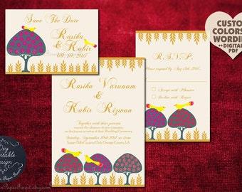 Moghul Indian Wedding Invitation Set LOVEBIRDS & TREES Printable Custom Save The Date Card Sikh Hindu Muslim Royal Persian Turkish Iranian