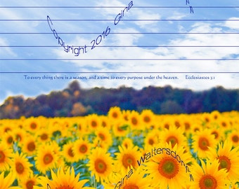 Field of Sunflowers Stationery10 blue sky scripture letter writing instant download scrapbooking yellow blue nature flower Gina Waltersdorff