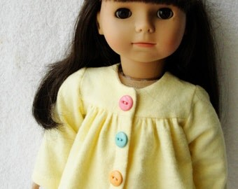 American Girl Doll Yellow Flannel Pajamas with Pastel Buttons