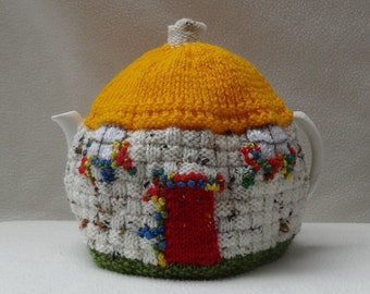 Tea Cosy English Thatched Country Cottage design Hand Knitted