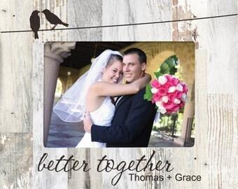 Personalized Love Birds Photo Frame - Engraved Wood Wedding Picture Frame - Engagement designed frame - Love Anniversary Frame - Pallet