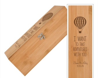 Hot Air Balloon Wine Box With Tools - Personalized Engraved Bamboo Wine Box - Personalized Family Wedding Gift, Engraved Wedding Wine Box