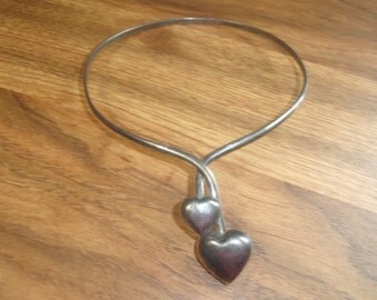 vintage necklace collar silvertone choker