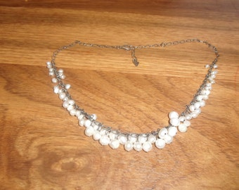 vintage necklace sterling silver pearl dangles