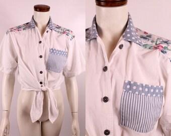 Vintage 80s 90s - White Blue Pink - Stripe Polka Dot Rose Floral - Button Up Short Sleeve - Cropped Half Crop Top Shirt