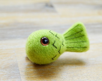 Felted Small Fish Brooch Detailed with Embroidered Scales - Lime Green Mini Fish Brooch Pin Needle Felted Merino Wool