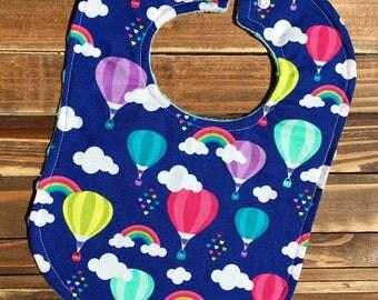 Girl Baby Bib Balloons and Rainbows Baby Show Gift