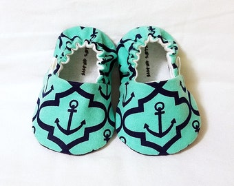 Nautical, Anchor Baby Booties - Newborn, Infant, Baby Slippers, Crib Shoes, Footwear